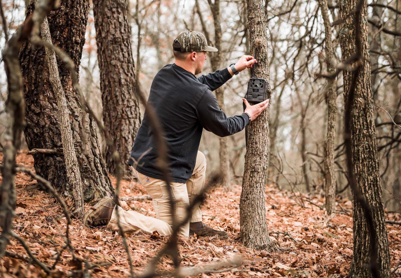 Man setting up cellular trail camera on tree