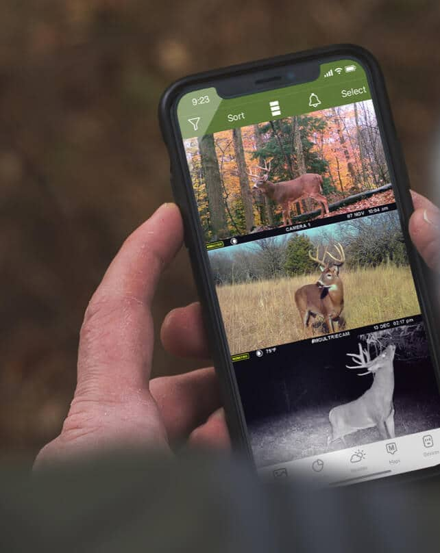 Hands holding iPhone with Moultrie Mobile app open