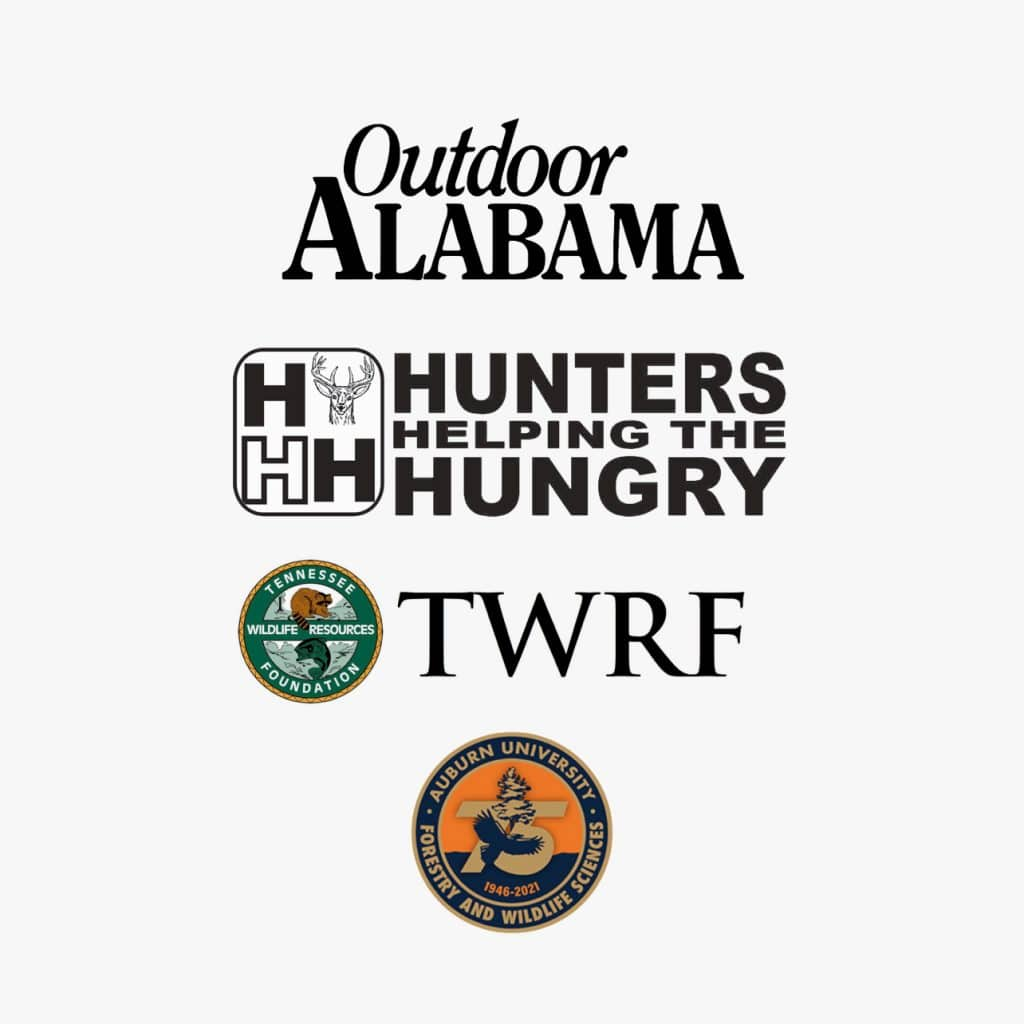 Outdoor Alabama, Hunters Helping The Hungry, TWRF and Auburn University Forestry and Wildlife Sciences logos