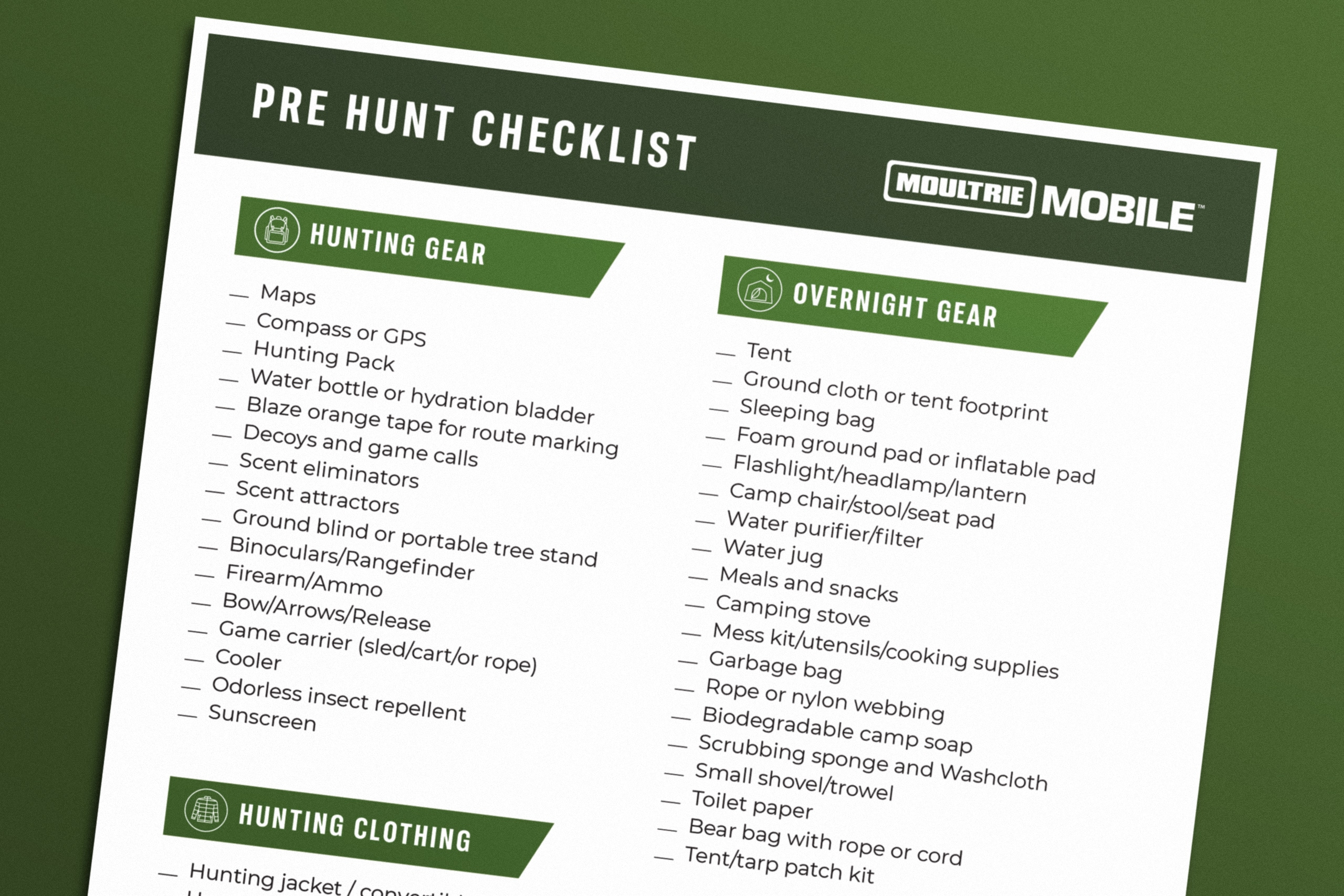 Pre Hunting Checklist From Moultrie Mobile